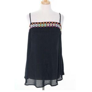 ASOS Size 14 Black Floral Spaghetti Strap Tank Top